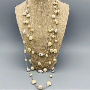 Multi Strand Pearl Silver Beads Neckace